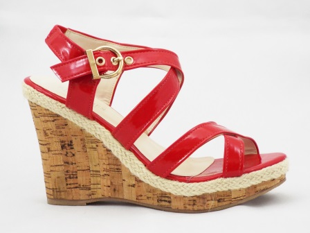 Sandale dama rosii material lac