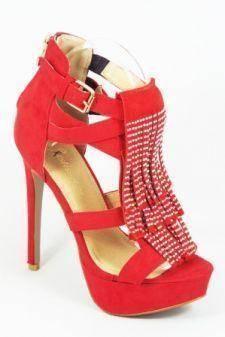 Sandale dama rosii toc 14 cm Festima