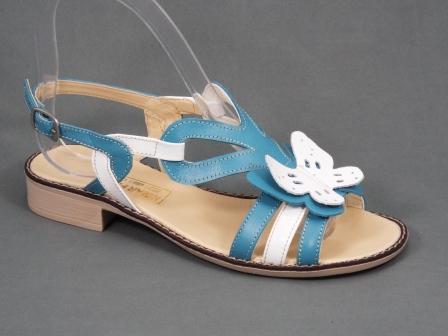 Sandale dama turcoaz cu alb