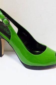 Sandale dama verzi cu insertii de negru