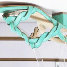 Sandale dama verzi turcoaz cu toc de 5 cm