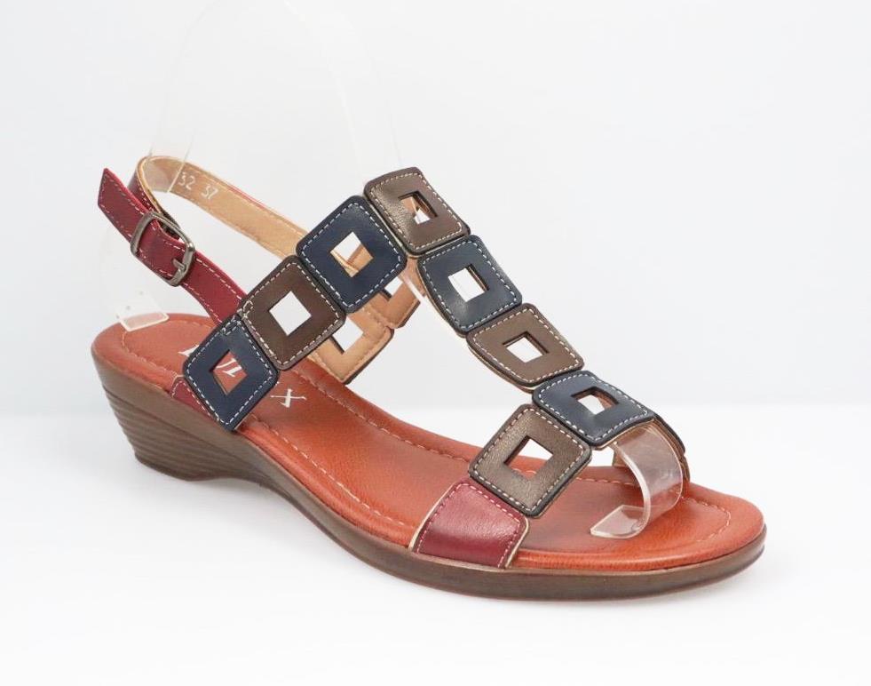 Sandale dama visinii cu maro si bleumarin Arina