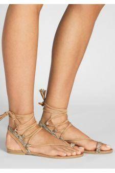 Sandale fara toc Lorena Bej