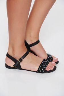 Sandale negre casual cu talpa joasa din piele ecologica cu aplicatii cu pietre strass