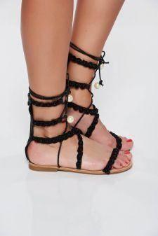 Sandale negre casual din piele ecologica cu aplicatii cu perle