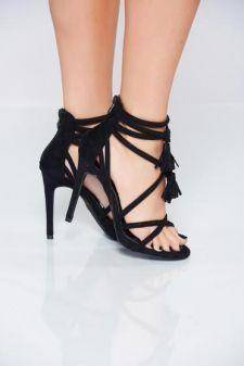 Sandale negre cu toc inalt din piele ecologica intoarsa cu bretele
