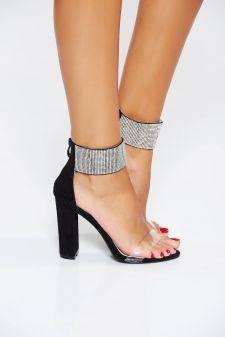 Sandale negre de ocazie cu aplicatii stralucitoare din piele ecologica
