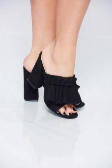 Sandale negre din piele intoarsa ecologica cu toc inalt patrat