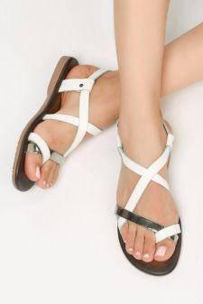 Sandale piele naturala Novella Albe