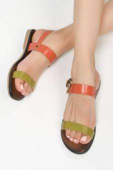Sandale piele naturala Pilones 3 Portocalii