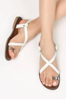 Sandale piele naturala Tenda Albe