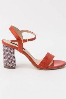 Sandale rosii office din piele naturala cu toc gros si barete subtiri